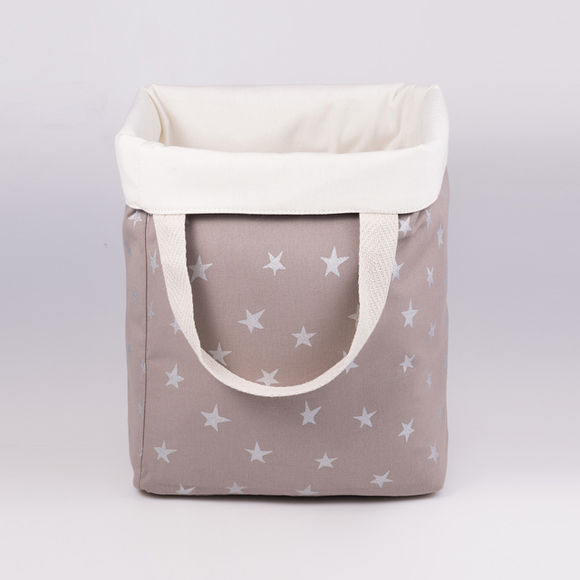 Tall Basket, taupe with silver stars