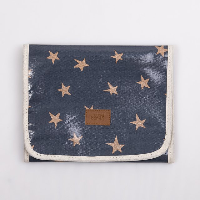 Aguamarina Pouch, plasticized, blue with cooper stars