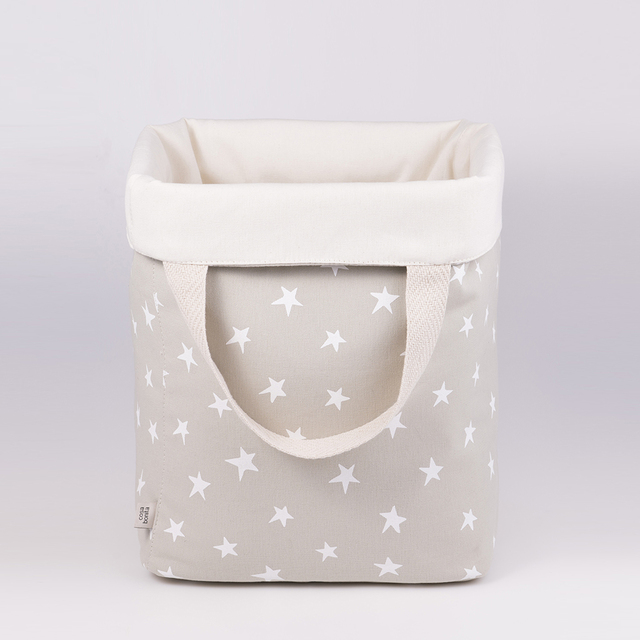 Tall Basket, pearl grey with white stars