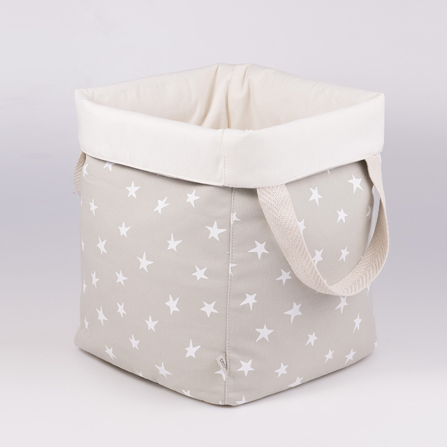 Tall Basket, pearl grey with white stars   - buy online
