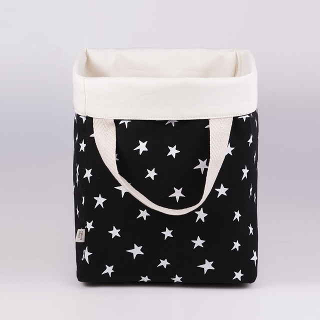 Tall Basket, black with white stars