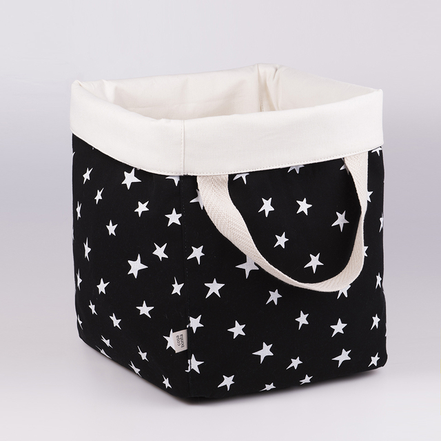 Tall Basket, black with white stars   - buy online