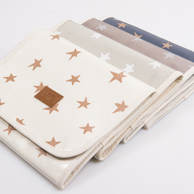 Aguamarina Pouch, plasticized, blue with cooper stars   - online store