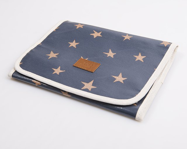 Aguamarina Pouch, plasticized, blue with cooper stars   - buy online