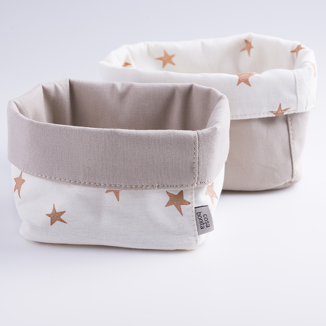 Small Basket, ecru with cooper stars on internet