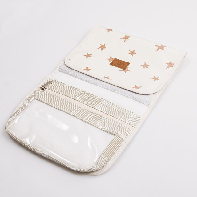 Aguamarina Pouch, plasticized, ecru with cooper stars   on internet