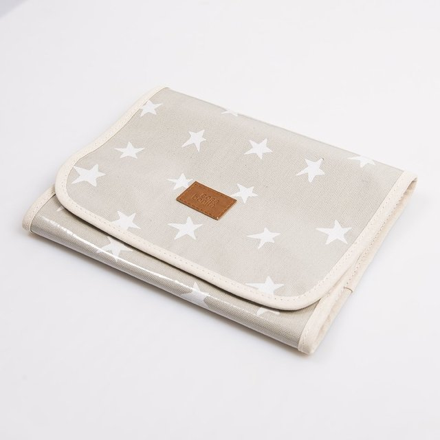 Aguamarina Pouch, plasticized, pearl grey with white stars