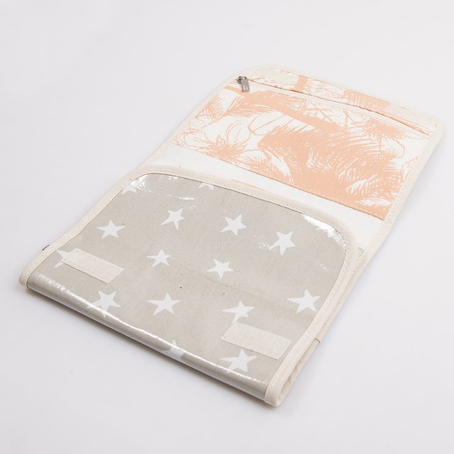Aguamarina Pouch, plasticized, pearl grey with white stars   - buy online