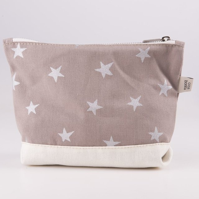 Petra Pouch, taupe with silver stars
