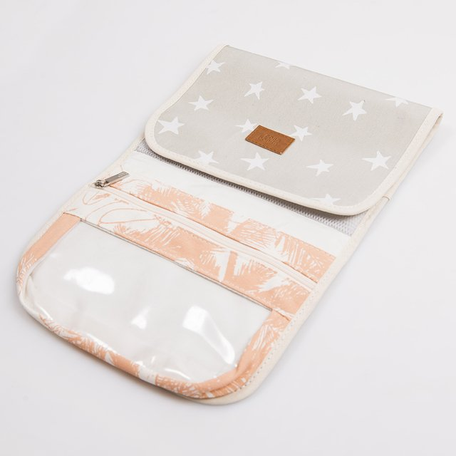 Aguamarina Pouch, plasticized, pearl grey with white stars   on internet