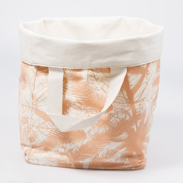 Tall Basket, ecru with pink palm trees - buy online