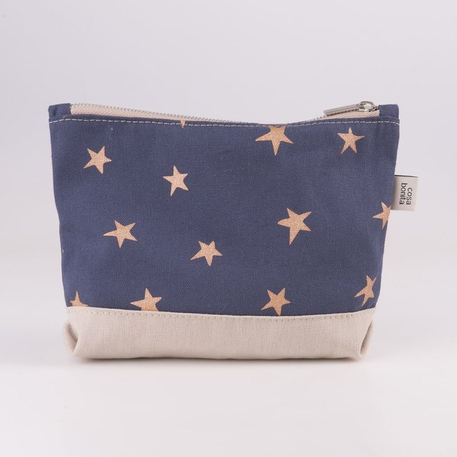 Petra Pouch, blue with cooper stars
