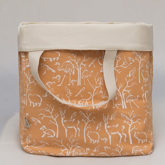 Tall Basket, salmon with white animals - buy online