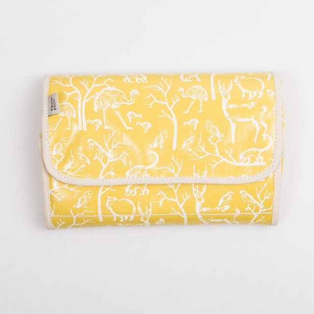 Portable Changing Mat, yellow with white animals - buy online