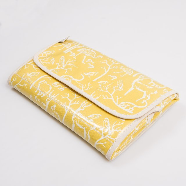 Portable Changing Mat, yellow with white animals
