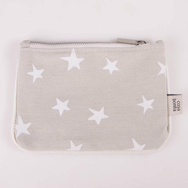Susques Purse, pearl grey with white stars