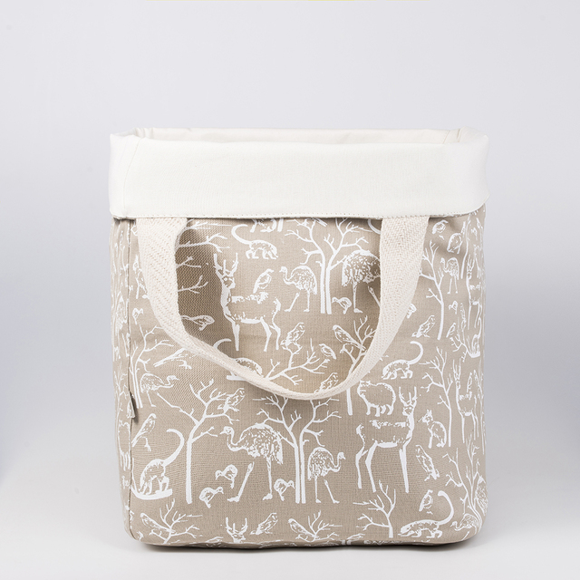 Tall Basket, beige with white animals