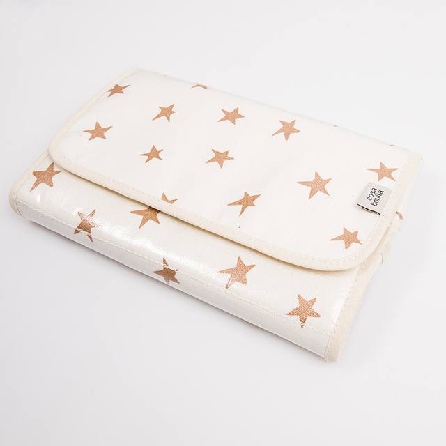 Portable Changing Mat, ecru with cooper stars