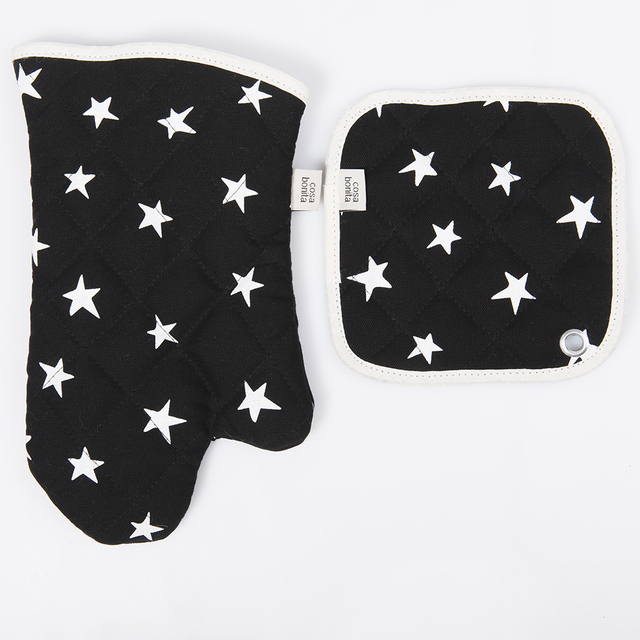 Traful Pot Holder & Oven Mit, black with white stars - buy online