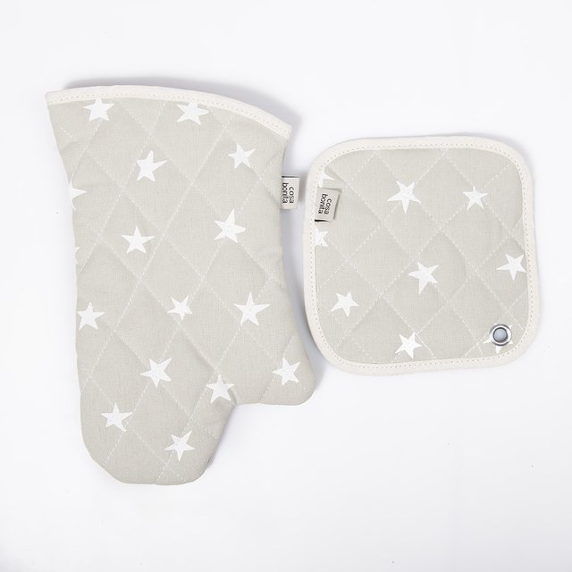 Traful Pot Holder & Oven Mit, grey with white stars - buy online