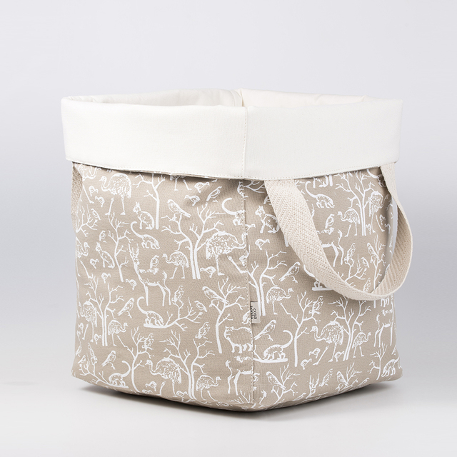 Tall Basket, beige with white animals - buy online