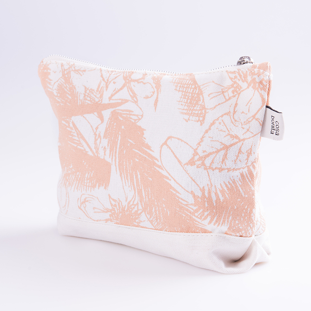 Petra Pouch, ecru with salmon palm trees - Cosa Bonita