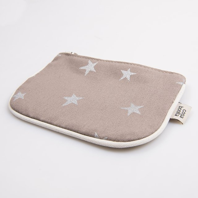 Susques Purse, taupe with silver stars