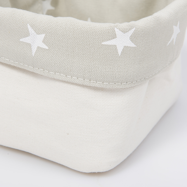 Small Basket, pearl grey with white stars   - Cosa Bonita