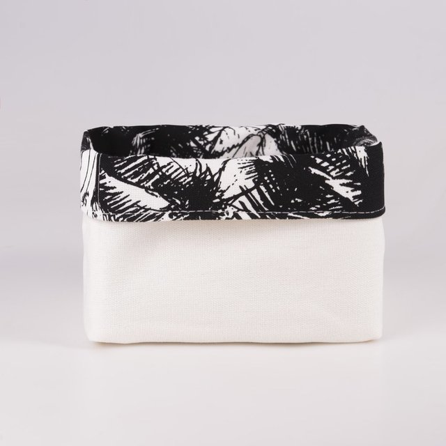 Small Basket, ecru with black palm trees on internet