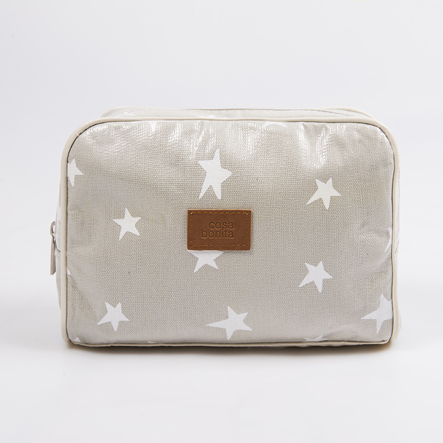 Topacio Pouch, plasticized, pearl grey with white stars - online store
