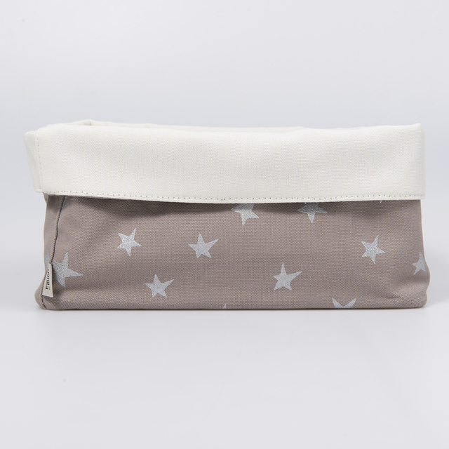 Medium Basket, taupe with silver stars