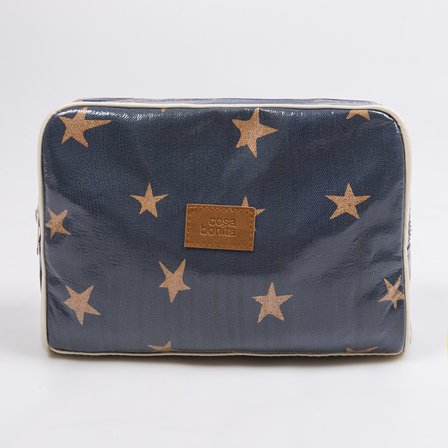 Topacio Pouch, plasticized, blue with cooper stars   - buy online