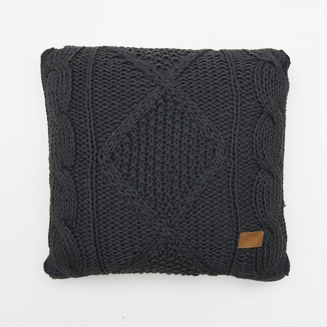 Medium Hong Kong Cushion, dark grey cable stitch - buy online