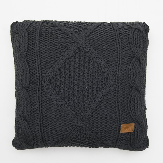 Tall Hong Kong Cushion, dark grey cable stitch