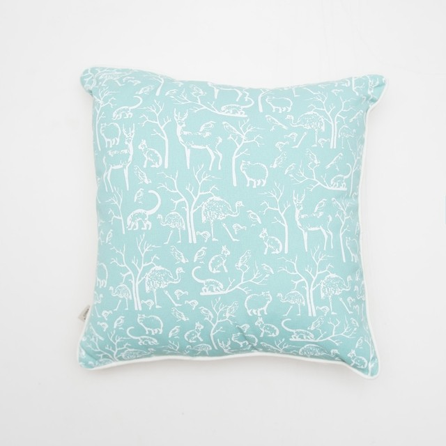 Iruya Cushion, aqua with white animals - buy online