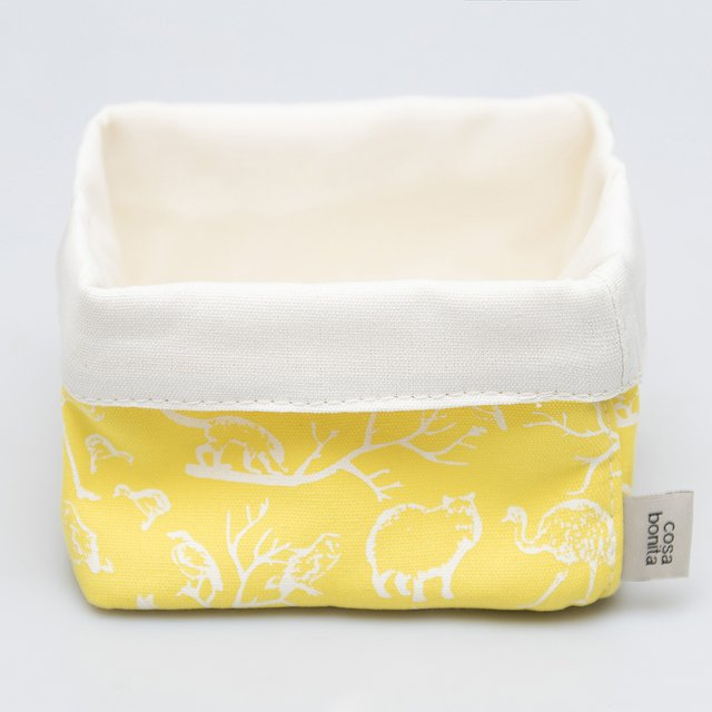 Small Basket, yellow with white animals