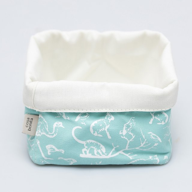 Small Basket, aqua with white animals