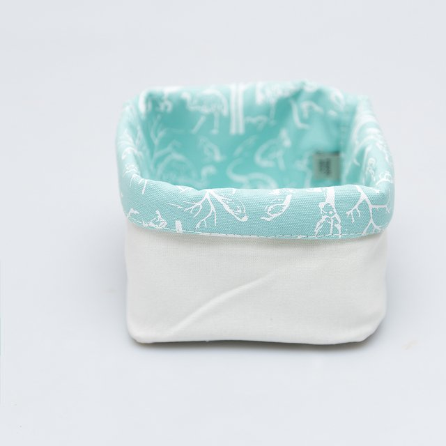 Small Basket, aqua with white animals - buy online