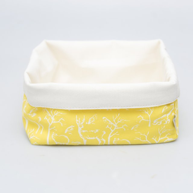Medium Basket, yellow with white animals
