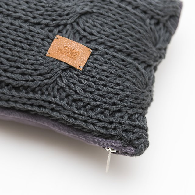 Medium Hong Kong Cushion, dark grey cable stitch on internet