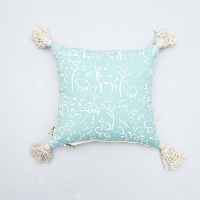 Cafayate Cushion, aqua with white animals - buy online