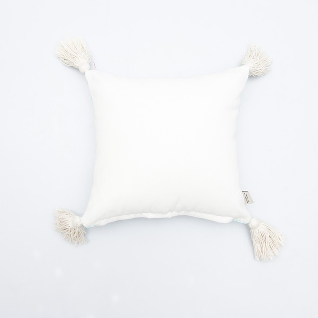 Cafayate Cushion, aqua with white animals on internet