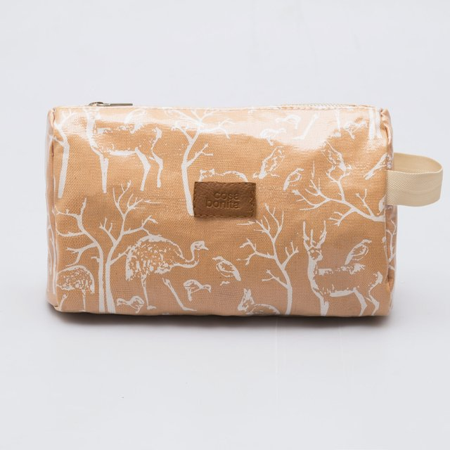 Fiambalá Pouch, plasticized, salmon with white animals on internet