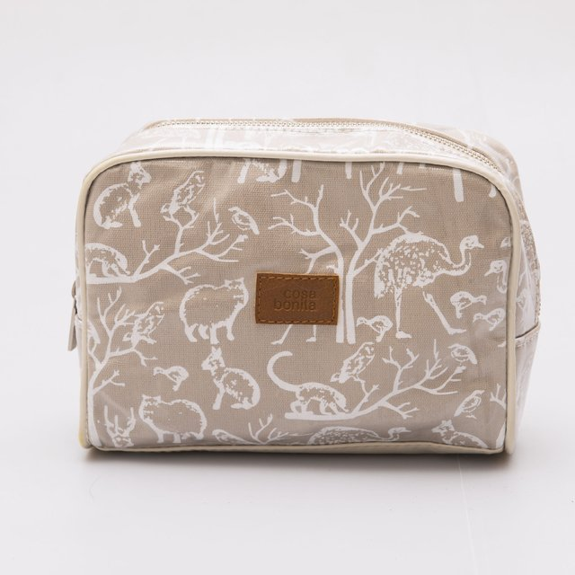 Topacio Pouch, plasticized, beige with white animals - buy online