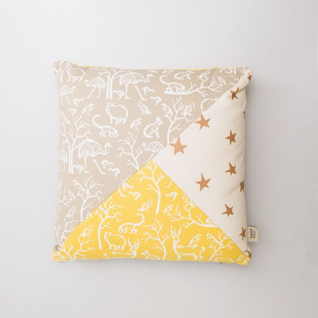 Scooby Cushion, beige & yellow