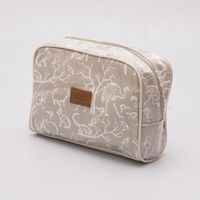 Topacio Pouch, plasticized, beige with white animals on internet