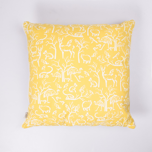 Iruya Cushion, yellow with white animals