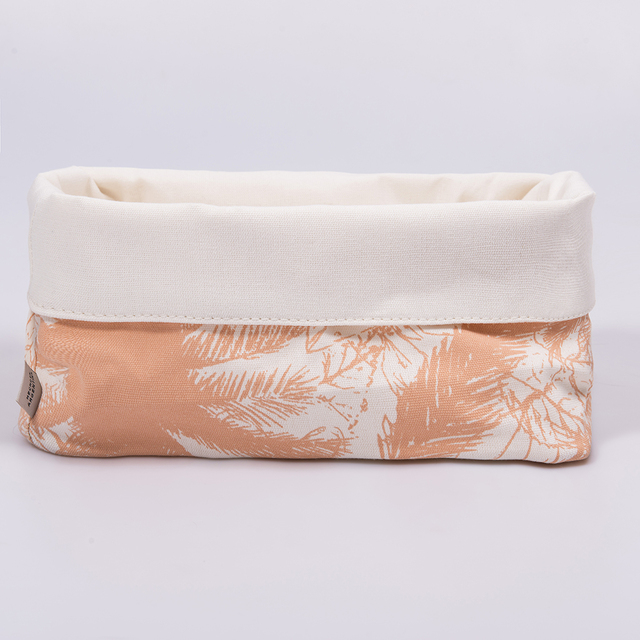 Medium Basket, ecru with salmon palm trees