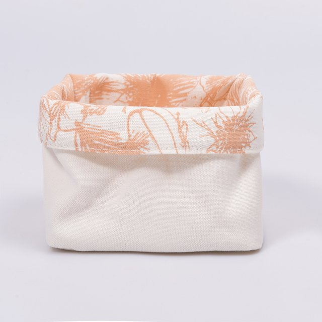Small Basket, ecru with salmon palm trees on internet