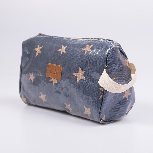 Fiambalá Pouch, plasticized, blue with cooper stars